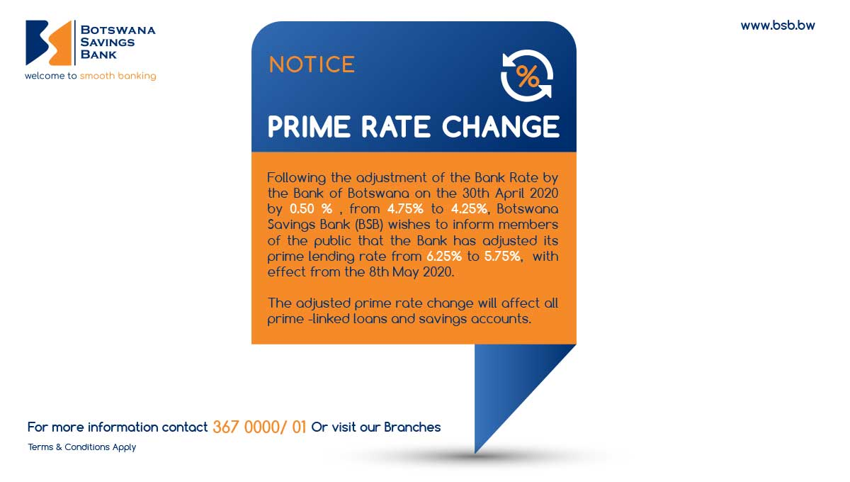 Notice: Prime Rate Change